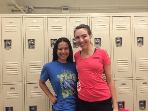 aimee and workout buddy sarabeth at the gym