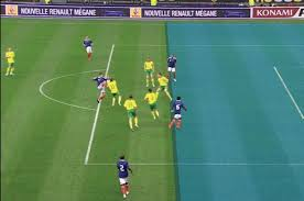 Two players in an offside position for the attacking blue team