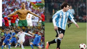 Above: a muscular Cristiano Ronaldo, Wayne Rooney (bottom left) and Lionel Messi (right), all looking to perform in the FIFA World Cup