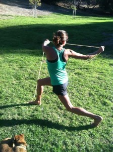 twisting lunges band training